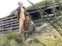 Military gay gives head his admirer