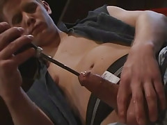 Depraved gay guy dude sub plays with penis