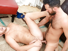 Rich's aching cock accepts some of Lucas' tight unshaved apple bottoms