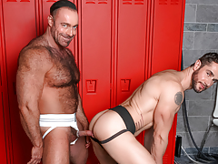 Dean & Brad pull their jocks from their jocks at the lockers