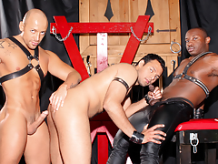 Cock-craving slut AJ is shiny on top & dominated by Jordano & Marc