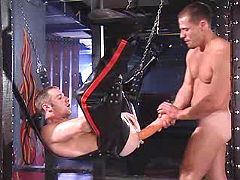 Gay fellow getting intense wazoo massage with huge dildo