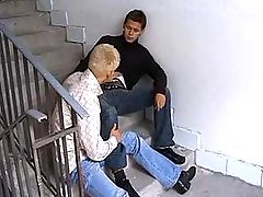Young fellows oral sex always others dongs in nasty corridor