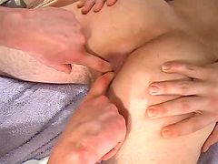 Dude gets his tight chocolate hole fingered and pumped