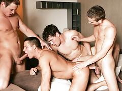 Julian Vincenzo watches a group of hungry champs fuck and suck