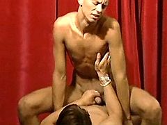 Nasty oversexed fellows selflessly fuck on the stage