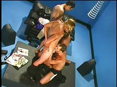 Four gorgeous gay gentlemen in group sex in 2 video