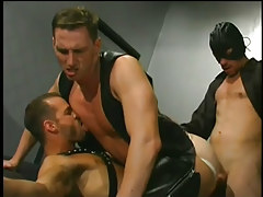 Leather  men having faggot sex in 5 motion picture