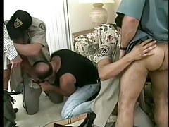 Hot gay policemen uniform porn massive fuckfest in 6 movie scene