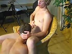 Blond gay guys do sip job in studio