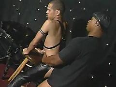 Narrow black butt plugged real tough