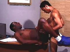 Handsome ebony man takes it anally