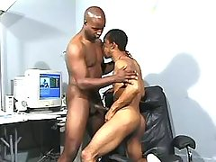 Narrow black anus plugged real hard