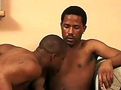 Gay fills cock in stiff black crack slit