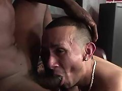 Nasty fruitless black faggot getting slammed