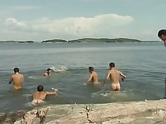 Numerous gay guys have fun in lake