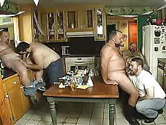 Chubby ripe man-lovers suck jocks on kitchen