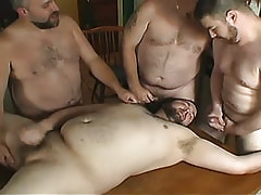 Fat twinks ball batter by turns on face