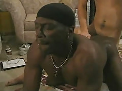 Black homosexual attains penetration in doggy style
