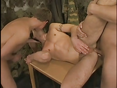 Hot military homosexual kissed and owned by assistants