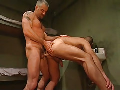 Horny mature prisoner bangs poor boy