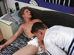 Naughty college male deep throats dick