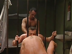 Poor stud licks guys anus and bonked by bear guy