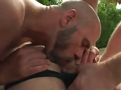 Bear gay licks bushy males booty outdoor