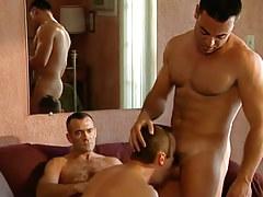 Horny bear faggot plays with guys