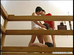 Horny gay guy gays play with tongue and blow rods in threesome