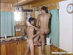 Dirty gay guy homosexuals have fun on kitchen