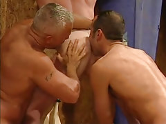 Mature man-lovers lick appetizing sinuous gazoo in threesome