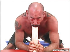 Mature unshaved gay guy throats giant vibrator