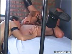 Gay prisoner licks guys  anus