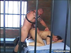 Hairy prisoner drills hunk in doggy style