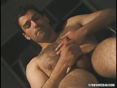 Bear gay guy masturbates