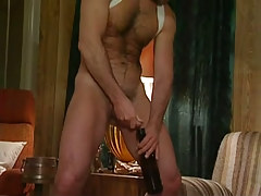 Hairy homo pissing in bottle subsequently oral sex