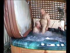 Old homosexual guys make facefucking in pool