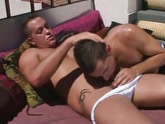 Horny dad sucked by boyish sub on terrace