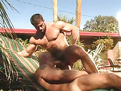 Muscle dilf sucked by gentleman outdoor