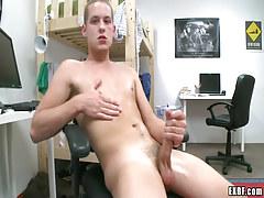 Blond adolescent twink masturbates