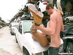 Ebony coed accepts cavernous anal on car