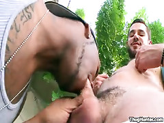 Bear gay sucked by brown stud outdoor